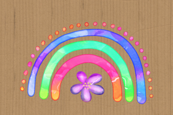 Print on Demand: Watercolor Rainbow Doodle Design Element Graphic Illustrations By Prawny - Image 4