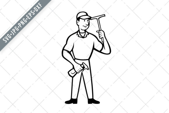 Download Free Window Cleaner Holding Squeegee Graphic By Patrimonio Creative for Cricut Explore, Silhouette and other cutting machines.