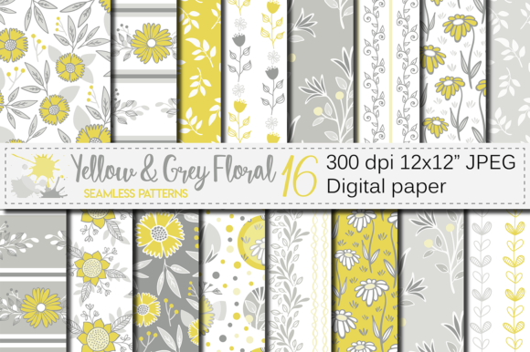 Download Free Yellow And Gray Floral Seamless Patterns Graphic By Vr Digital for Cricut Explore, Silhouette and other cutting machines.