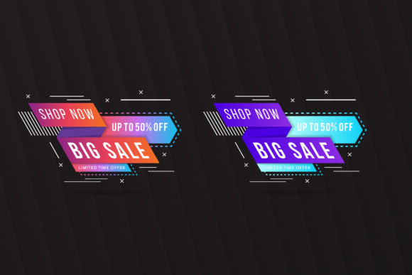 Download Free Big Sale Element Banner Geometric Graphic By Noory Shopper for Cricut Explore, Silhouette and other cutting machines.