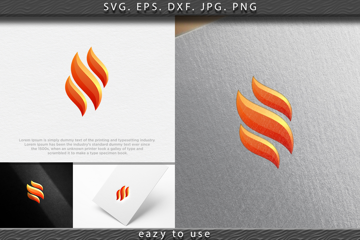 Download Free Modern Fire Flame Logo Logo Ideas Graphic By Ojosujono96 for Cricut Explore, Silhouette and other cutting machines.