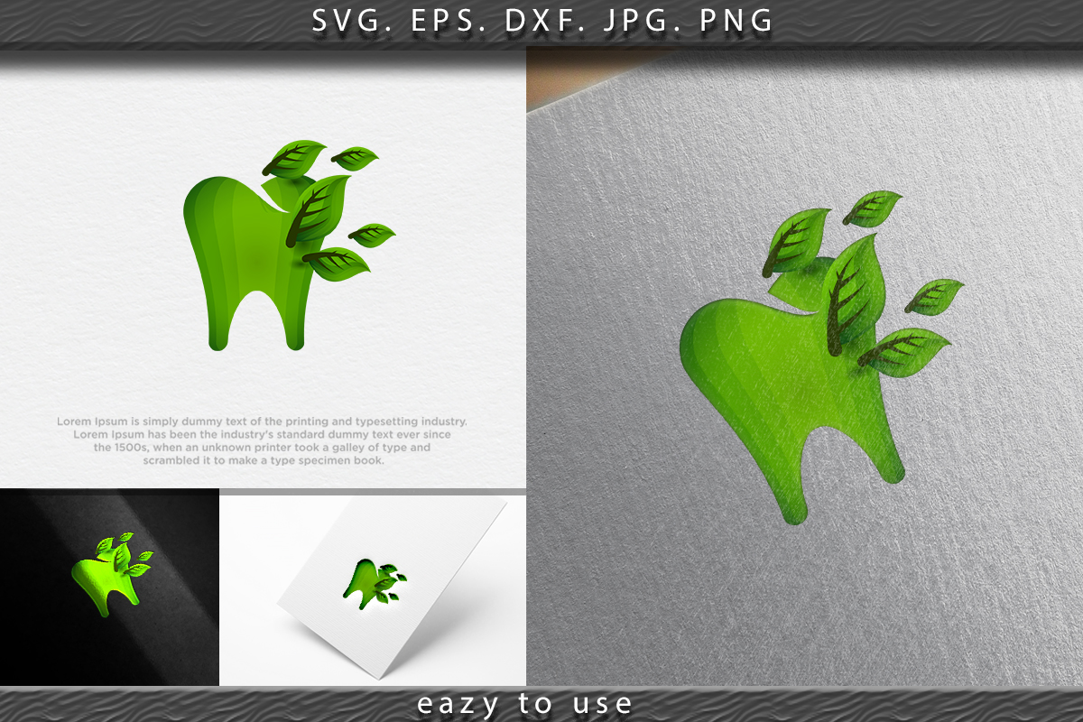 Download Free Nature Dental Leaf Logo Tooth Teeth Logo Graphic By Ojosujono96 for Cricut Explore, Silhouette and other cutting machines.