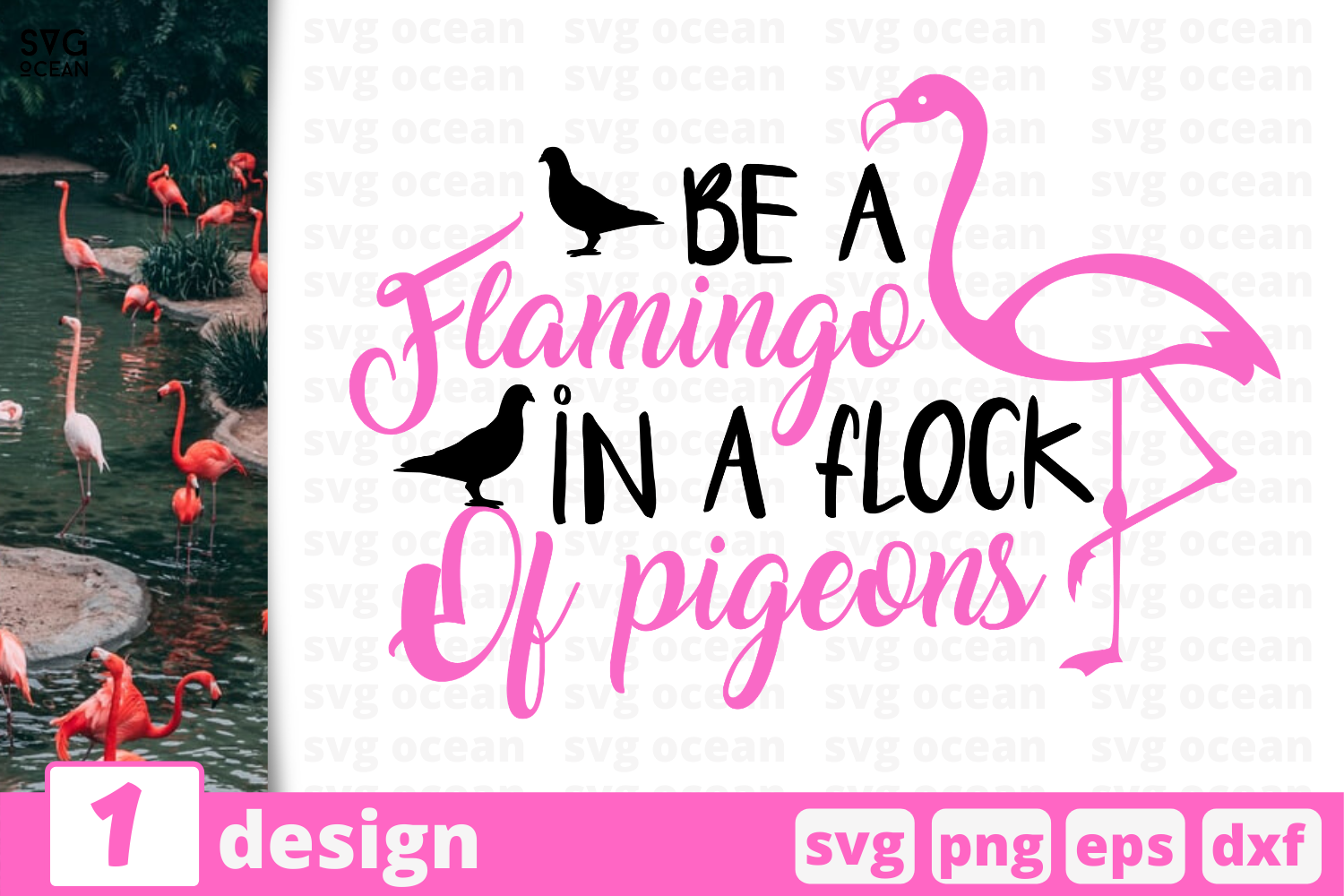 Download Free 1 Be A Flamingo In A Flock Of Pigeons Graphic By Svgocean for Cricut Explore, Silhouette and other cutting machines.