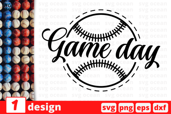 Download Free 1 Game Day Baseball For Cricut Graphic By Svgocean Creative for Cricut Explore, Silhouette and other cutting machines.