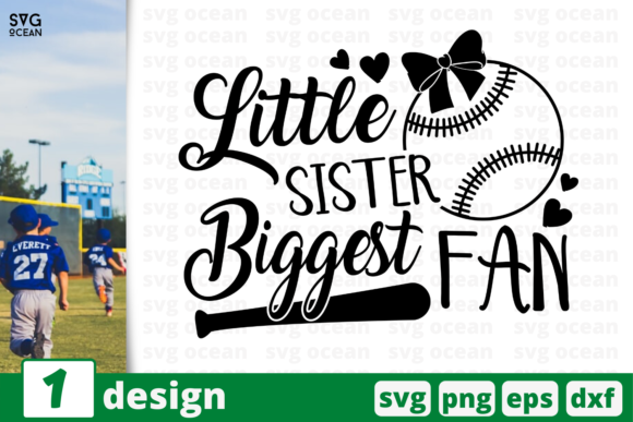 Download Free Little Sister Biggest Fan Graphic By Svgocean Creative Fabrica for Cricut Explore, Silhouette and other cutting machines.