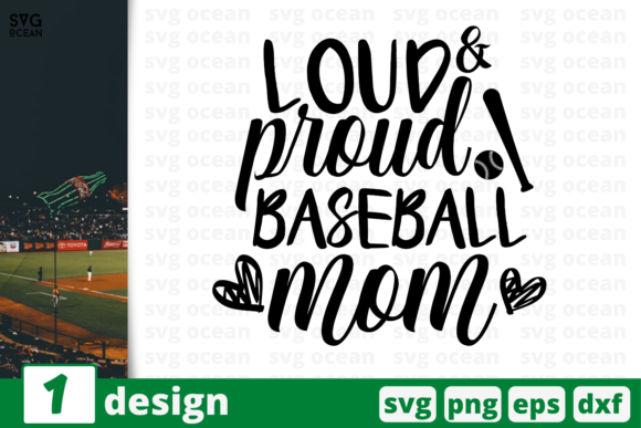 Download Free 1 Loud Proud Baseball Mom For Cricut Graphic By Svgocean for Cricut Explore, Silhouette and other cutting machines.