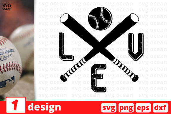 Download Free 1 Love Baseball For Cricut Graphic By Svgocean Creative Fabrica for Cricut Explore, Silhouette and other cutting machines.