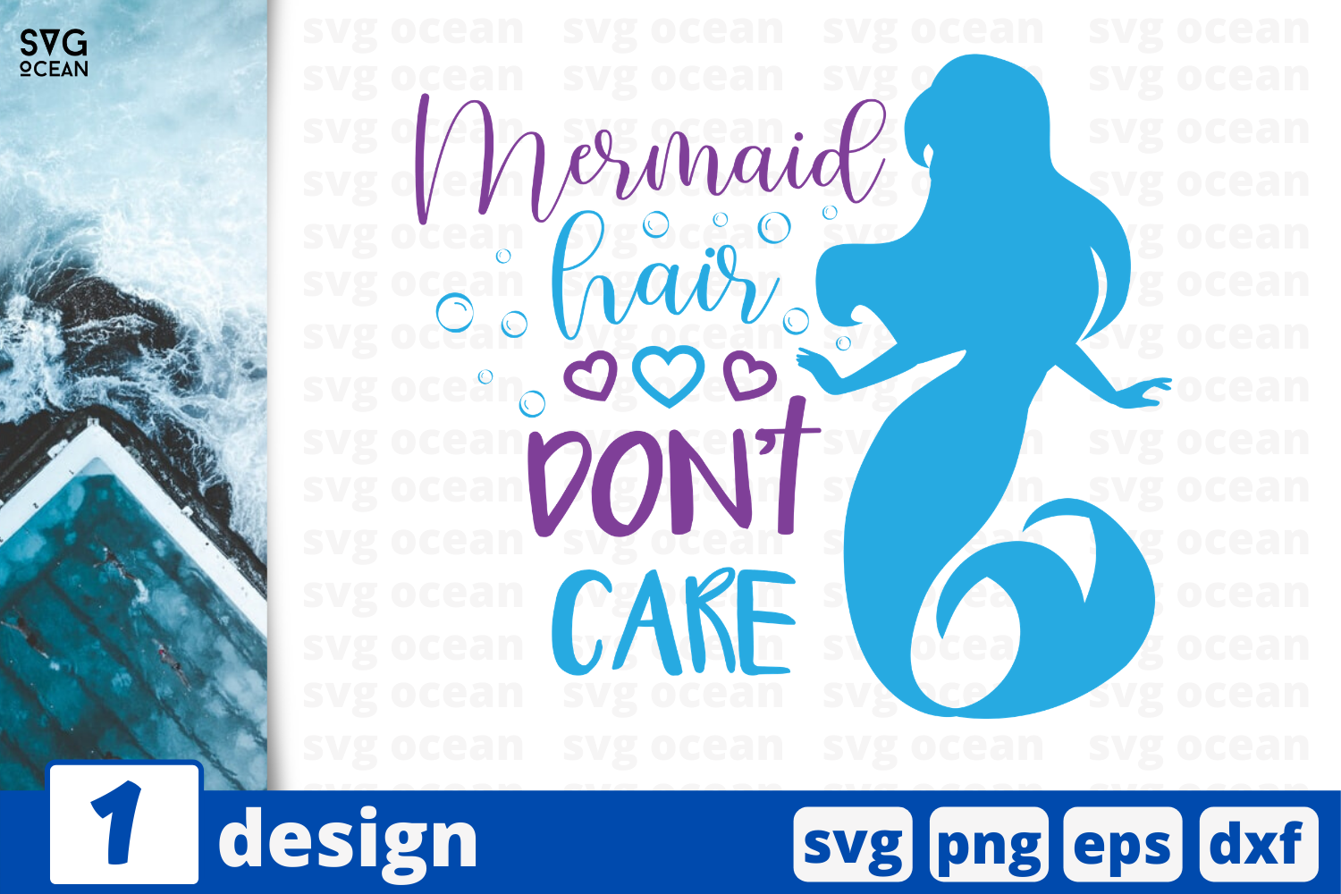 Download Free 1 Mermaid Hair Dont Care Summer Svg Graphic By Svgocean SVG Cut Files