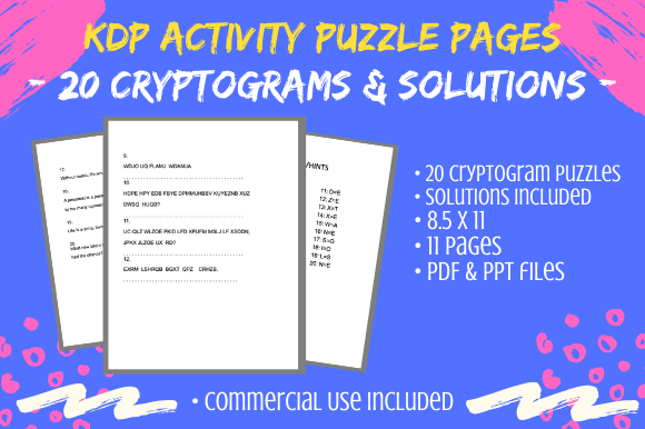 Print on Demand: 20 Cryptograms for KDP Activity Books Graphic KDP Interiors By Tomboy Designs
