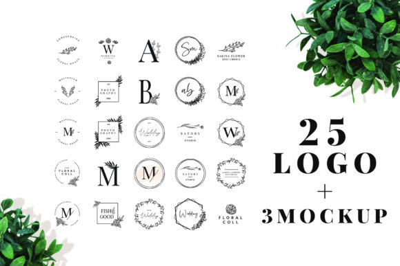 Print on Demand: 25 Elegant Logos + 3 Quality Mockups Graphic Logos By hai hai - Image 1