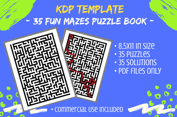 Print on Demand: 35 Fun Maze Puzzles for Activity Books Graphic KDP Interiors By Tomboy Designs