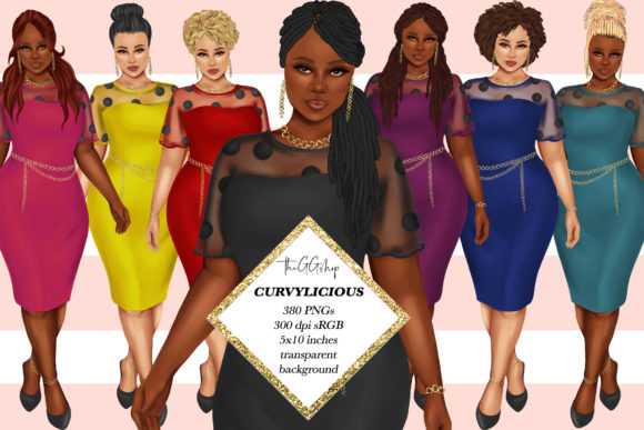 Print on Demand: 380 Plus Size Curvy Girls Cliparts Graphic Illustrations By TheGGShop - Image 1