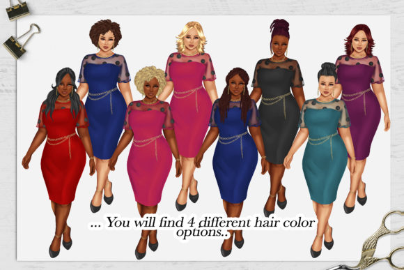 Print on Demand: 380 Plus Size Curvy Girls Cliparts Graphic Illustrations By TheGGShop - Image 4