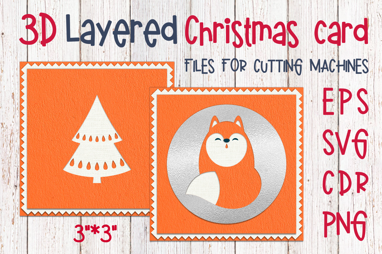 Download Free 3d Layered Christmas Card With Cute Fox Graphic By Olga Belova for Cricut Explore, Silhouette and other cutting machines.