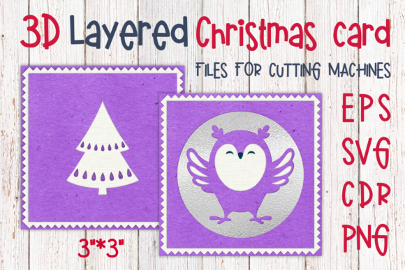 Download Free 3d Layered Christmas Card With Fox Graphic By Olga Belova SVG Cut Files