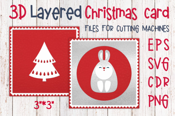 Download Free 3d Layered Christmas Card With Rabbit Graphic By Olga Belova for Cricut Explore, Silhouette and other cutting machines.
