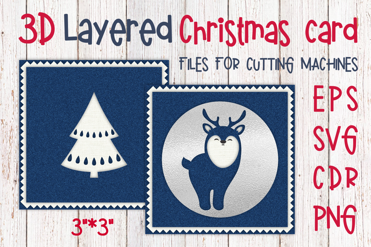 Download Free 3d Layered Christmas Card With Reindeer Graphic By Olga Belova for Cricut Explore, Silhouette and other cutting machines.