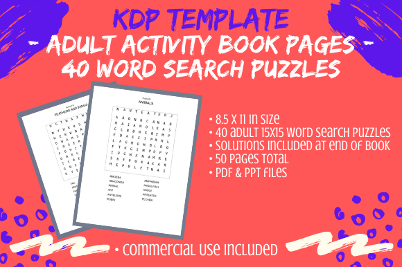 Print on Demand: 40 Adult Word Search KDP Puzzles 15x15 Graphic KDP Interiors By Tomboy Designs