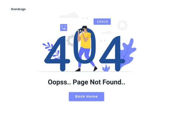 Download Free 404 Maintenance Error Landing Page Graphic By H12 Creative Fabrica for Cricut Explore, Silhouette and other cutting machines.