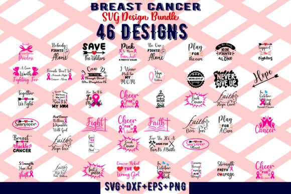 Download Free 46 Breast Cancer Bundle Graphic By Design Store Creative Fabrica for Cricut Explore, Silhouette and other cutting machines.