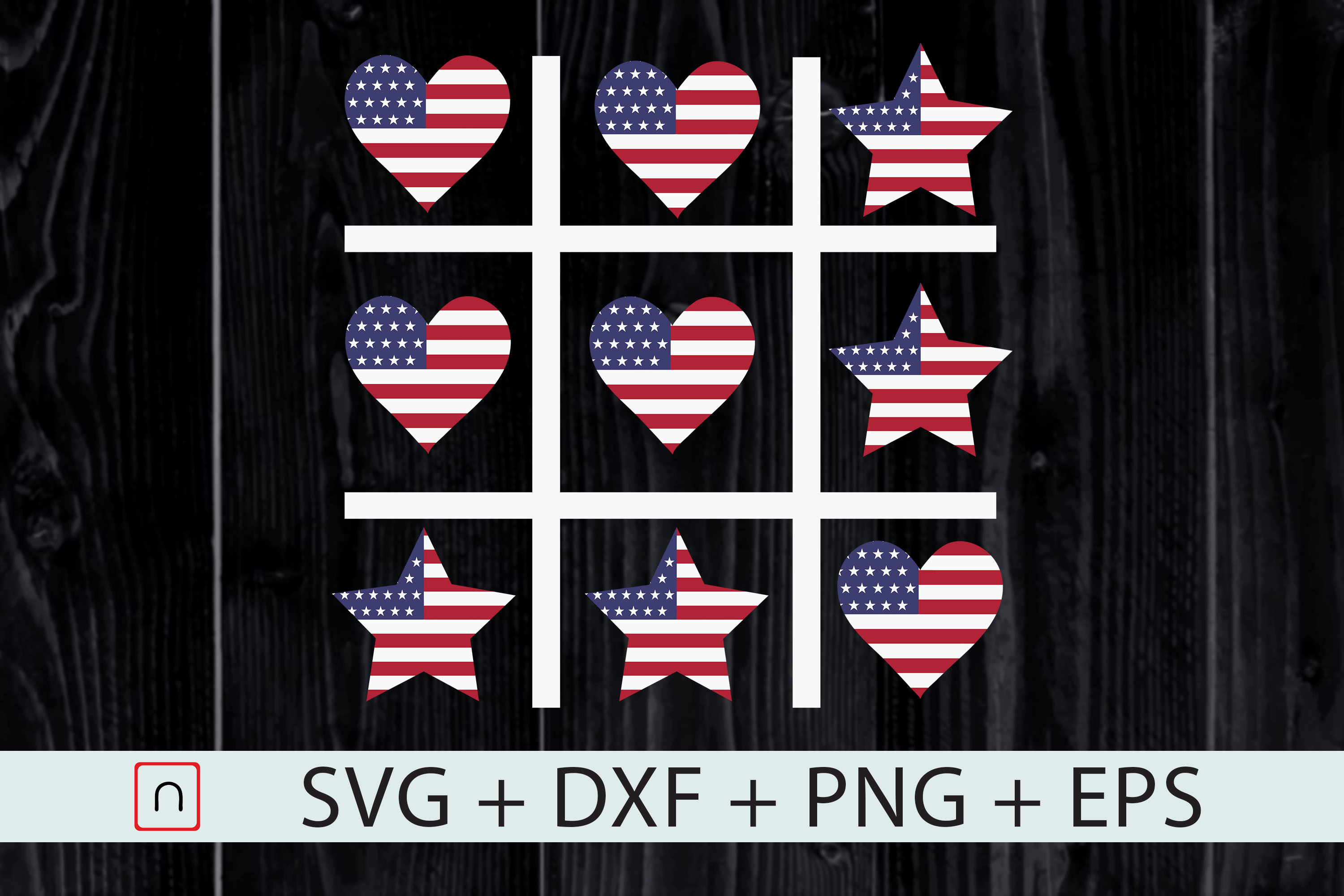 Download Free 4th Of July Tic Tac Toe Game Patriotic Graphic By Novalia for Cricut Explore, Silhouette and other cutting machines.