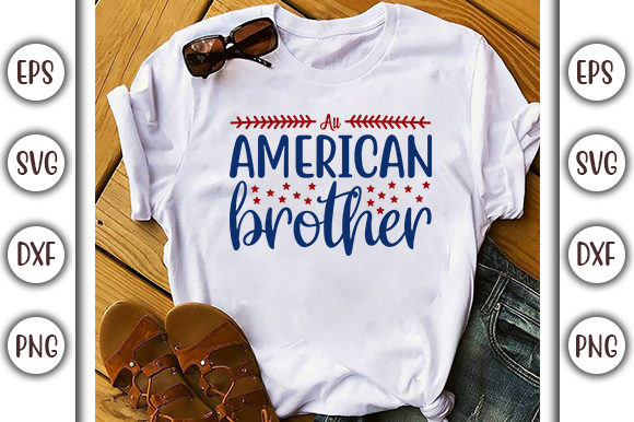 Print on Demand: 4th of July Design, All American Brother Graphic Print Templates By GraphicsBooth