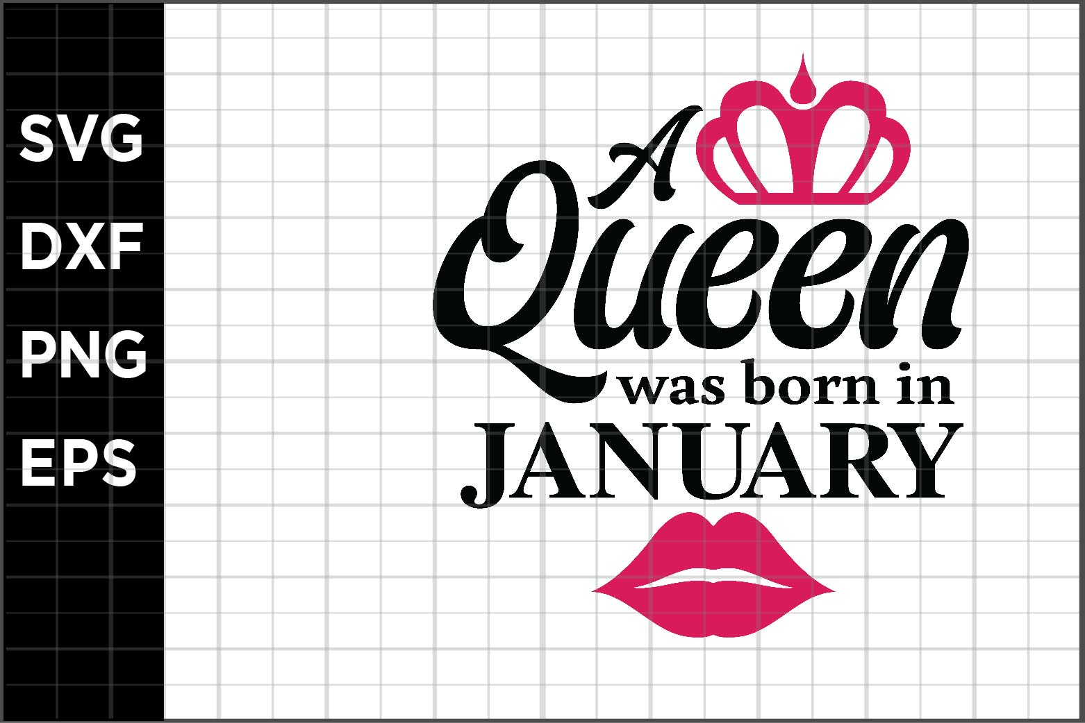 Download Free A Queen Born In January Graphic By Spoonyprint Creative Fabrica for Cricut Explore, Silhouette and other cutting machines.