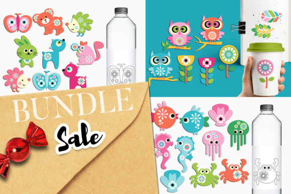 Print on Demand: Animals and Flowers Bundle Graphic Illustrations By Revidevi