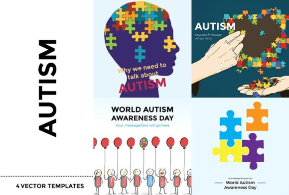 Download Free Autism 4 Vector Templates Graphic By Simply Swapnil Creative for Cricut Explore, Silhouette and other cutting machines.
