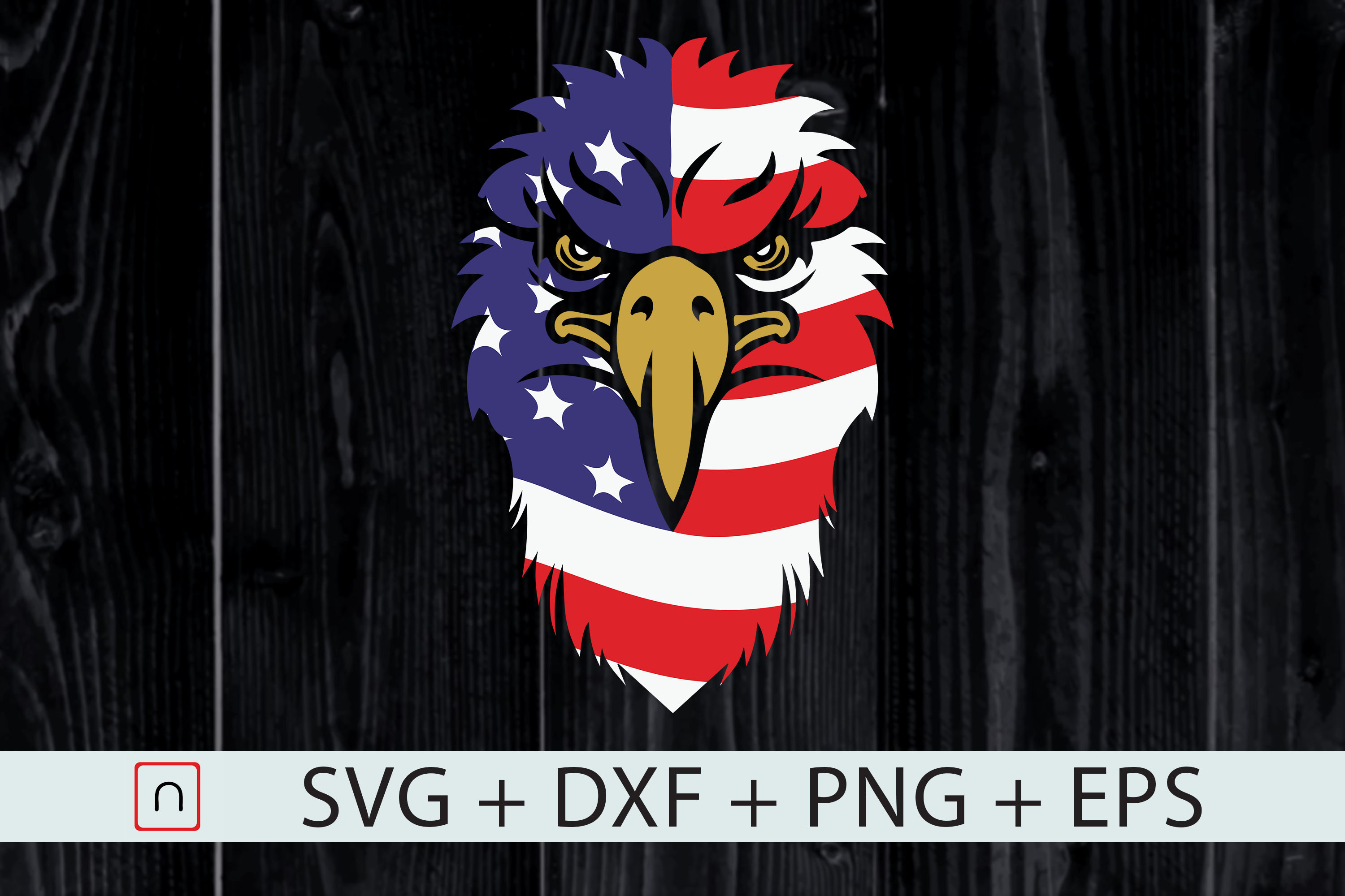 Download Free Bald Eagle With American Flag July 4th Graphic By Novalia for Cricut Explore, Silhouette and other cutting machines.