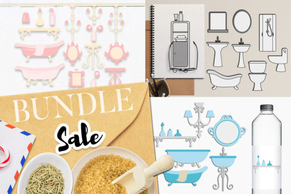 Download Free Bathroom Clip Art Bundle Graphic By Revidevi Creative Fabrica for Cricut Explore, Silhouette and other cutting machines.