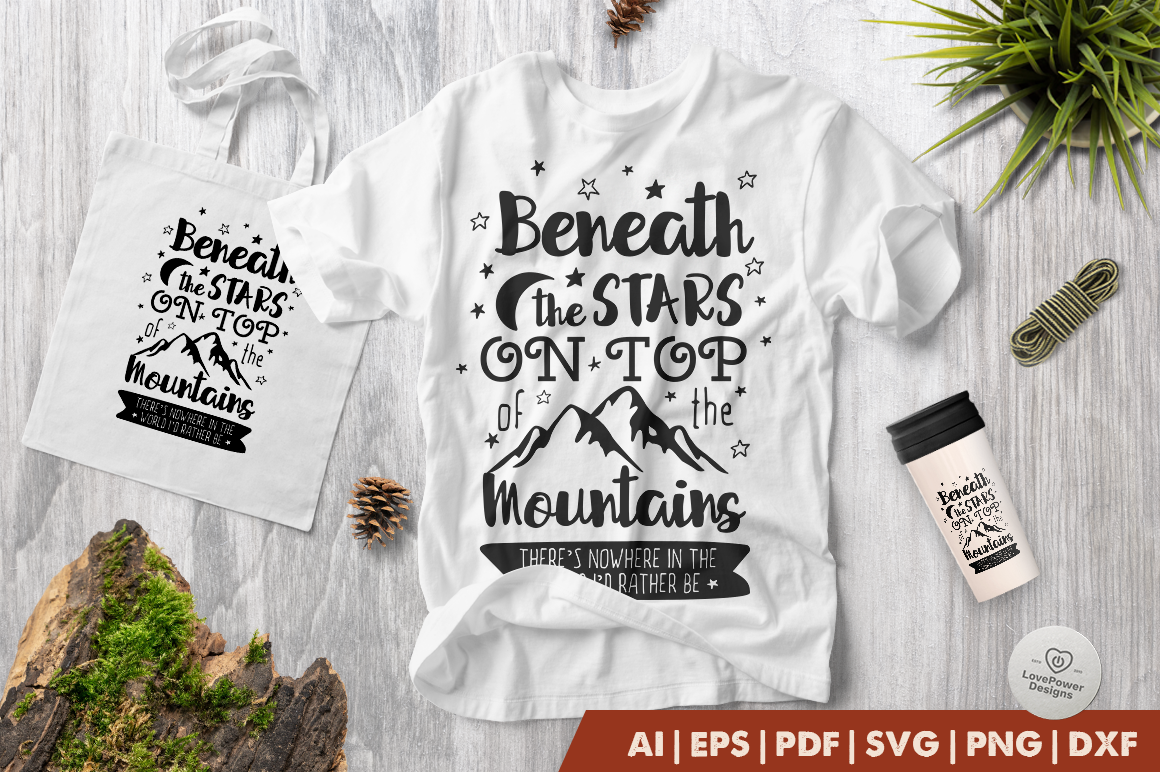 Download Free Beneath The Stars On Top Of The Mountain Graphic By for Cricut Explore, Silhouette and other cutting machines.