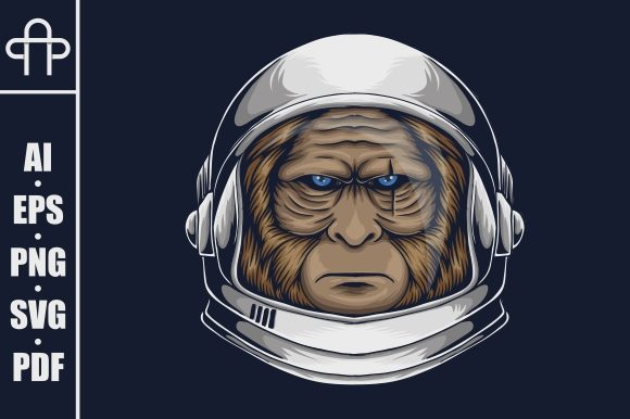 Print on Demand: Bigfoot Astronaut Vector Illustration Graphic Illustrations By Andypp
