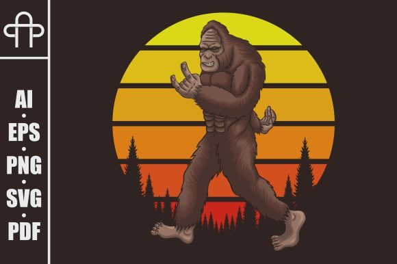 Download Free Bigfoot Rocker Retro Sunset Graphic By Andypp Creative Fabrica for Cricut Explore, Silhouette and other cutting machines.