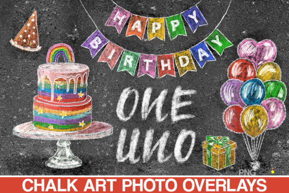 Download Free Birthday Chalk Art Overlays Photoshop Graphic By 2suns for Cricut Explore, Silhouette and other cutting machines.