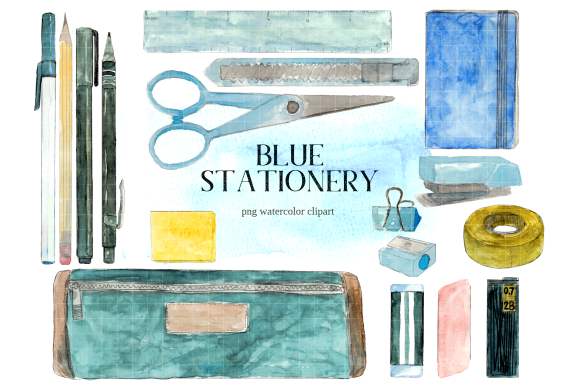 Print on Demand: Blue Back to School Stationery Clipart Graphic Illustrations By roselocket