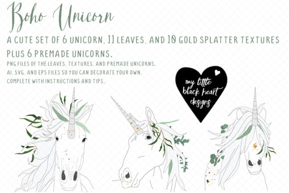 Download Free Boho Unicorn Kit Graphic By My Little Black Heart Creative Fabrica for Cricut Explore, Silhouette and other cutting machines.