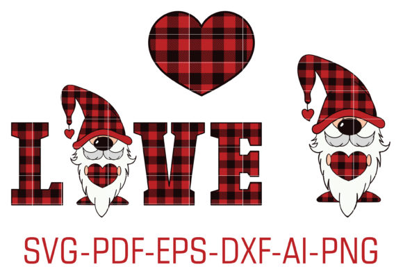 Download Free Buffalo Plaid Gnome Love Heart Graphic By Foundream Creative for Cricut Explore, Silhouette and other cutting machines.