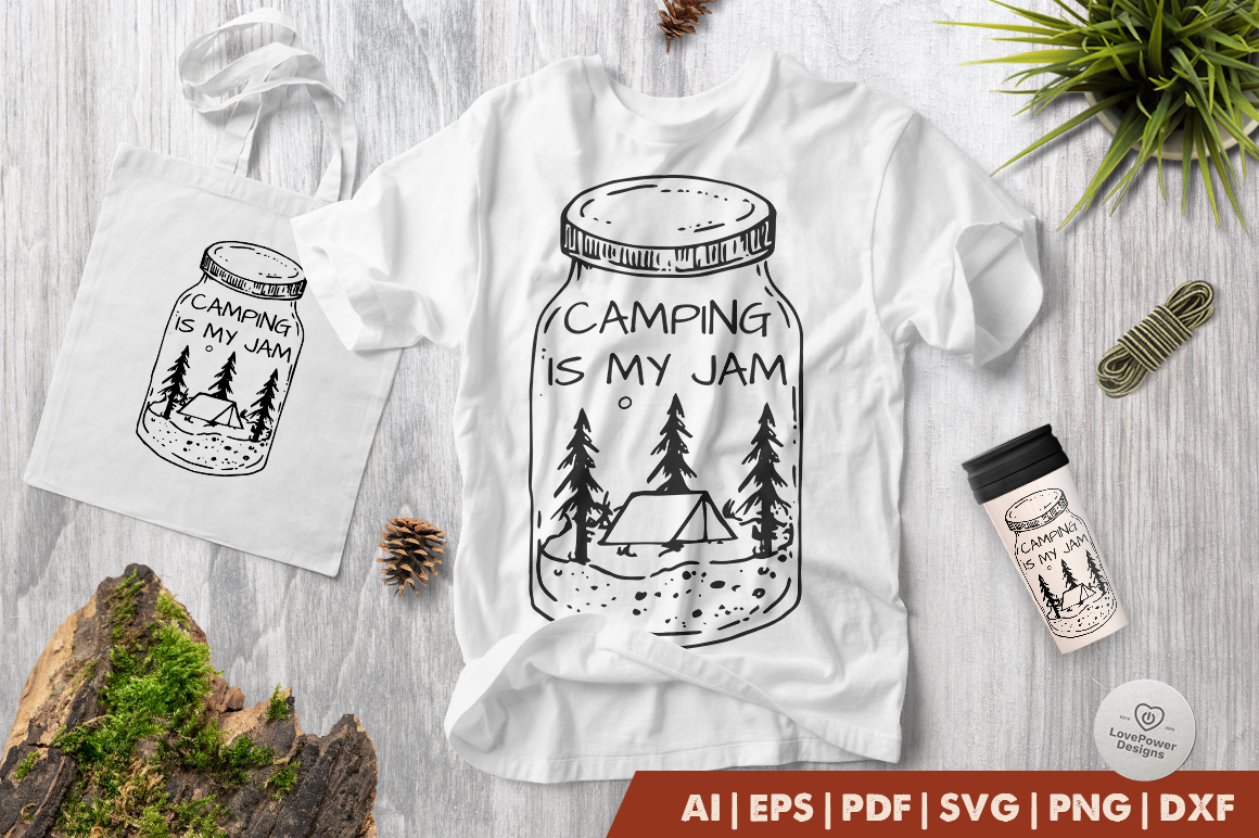 Download Free Camping Is My Jam Graphic By Lovepowerdesigns Creative Fabrica for Cricut Explore, Silhouette and other cutting machines.