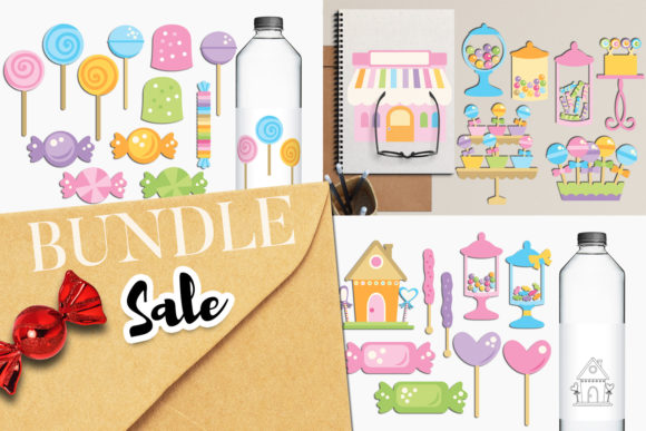 Print on Demand: Candy Shop Clip Art Bundle Graphic Illustrations By Revidevi