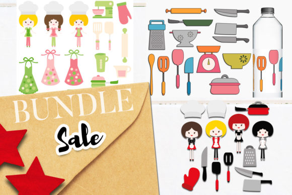 Download Free Chef Kitchen Bundle Graphic By Revidevi Creative Fabrica for Cricut Explore, Silhouette and other cutting machines.