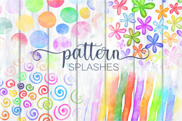 Print on Demand: Chic Rainbow Watercolor Pattern Splashes Gráfico Crafts Por Prawny