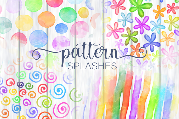 Chic Rainbow Watercolor Pattern Splashes SVG File