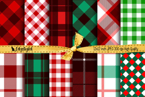 Print on Demand: Christmas Buffalo Plaid Printable Papers Graphic Crafts By CatgoDigital