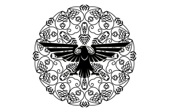 Download Free Craft Falcon Mandala Black Graphic By Studioisamu Creative Fabrica for Cricut Explore, Silhouette and other cutting machines.
