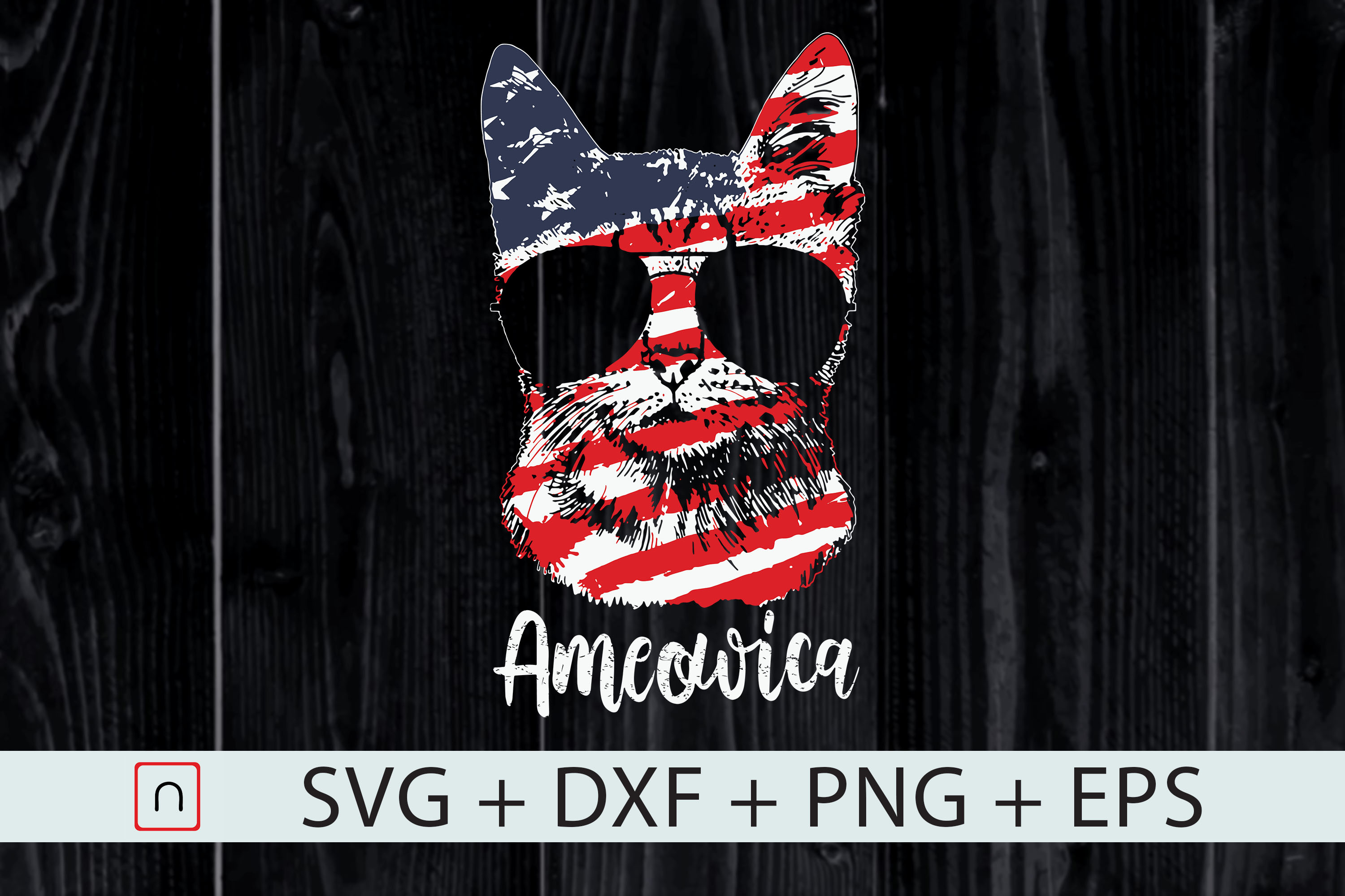 Download Free Cute Cat Ameowica Usa Flag 4th Of July Graphic By Novalia for Cricut Explore, Silhouette and other cutting machines.