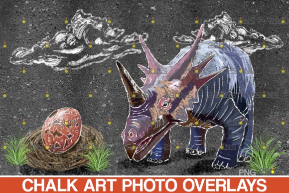 Dinosaurs Chalk Art Overlays, Dinosaur Graphic Illustrations By 2SUNS