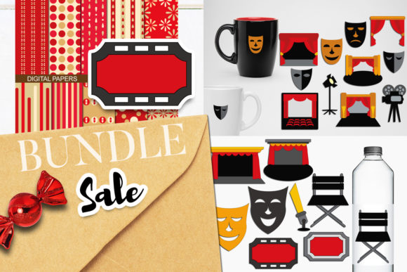 Print on Demand: Drama Theater Clip Art Bundle Graphic Illustrations By Revidevi