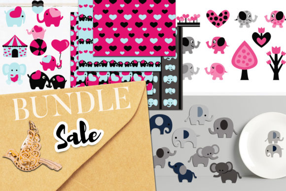 Print on Demand: Elephant Party Bundle Graphic Illustrations By Revidevi