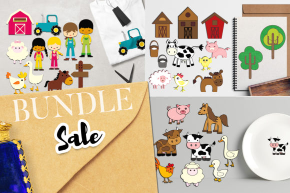 Print on Demand: Farm Animals Bundle Grafik Illustrationen von Revidevi
